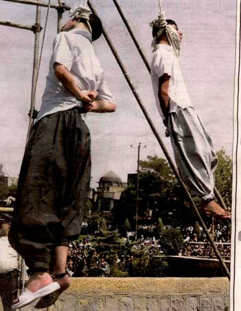Young gay men hanged in Iran. Their crime: Existing and desiring happiness, freedom, and equality.