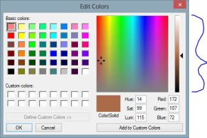 "Click to enlarge. Clicking the ""Edit Colors"" button (as indicated by the far right arrow in the first image above), opens this dialog. Note along the right edge, there is a vertical indicator of the infinite variations (or ""shades"") included in the color brown—from the very light, to the very dark. Clicking and holding the small arrow pointer and sliding it up and down the smoothly gradient brown color spectrum, allows one to select which ""shade"" of brown to use. ALL are shades of brown, though."